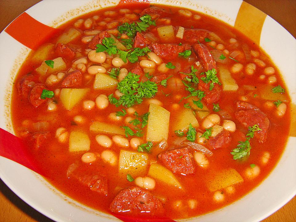 Judias con chorizo spanischer bohneneintopf von - Judias con chorizo y patatas ...
