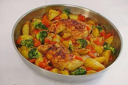 Hähnchenschenkel mit Gemüse im Backofen 2