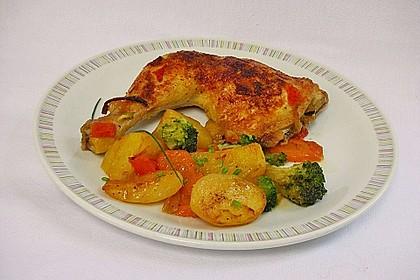 Hähnchenschenkel mit Gemüse im Backofen 4