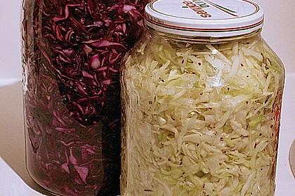 Sauerkraut in einem Glas selbst gemacht