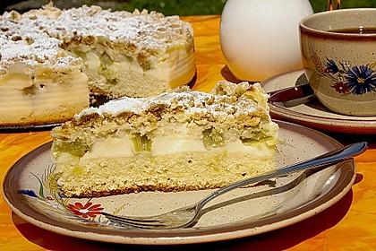 Rhabarberkuchen mit Vanillecreme und Streusel 17