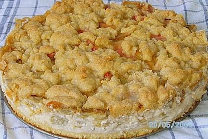 Rhabarberkuchen mit Vanillecreme und Streusel 120