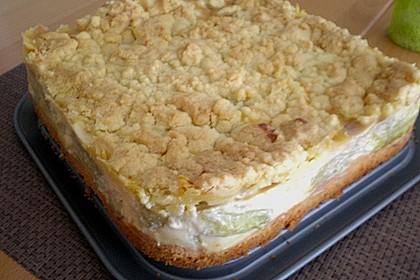 Rhabarberkuchen mit Vanillecreme und Streusel 189