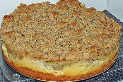 Rhabarberkuchen mit Vanillecreme und Streusel 88