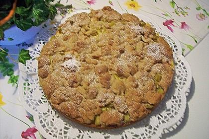 Rhabarberkuchen mit Vanillecreme und Streusel 201