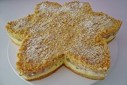 Rhabarberkuchen mit Vanillecreme und Streusel 9