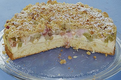 Rhabarberkuchen mit Vanillecreme und Streusel 30