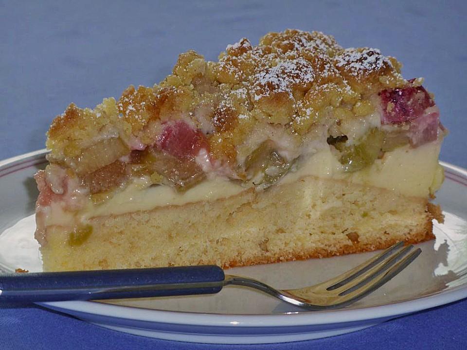Rhabarber kuchen mit streusel