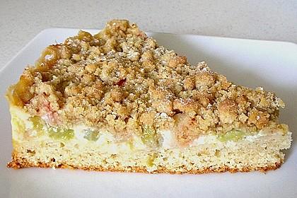Rhabarberkuchen mit Vanillecreme und Streusel 23