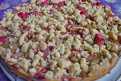 Rhabarberkuchen mit Vanillecreme und Streusel 51