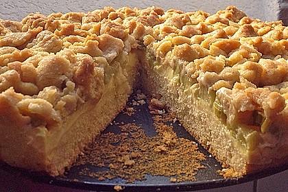 Rhabarberkuchen mit Vanillecreme und Streusel 116