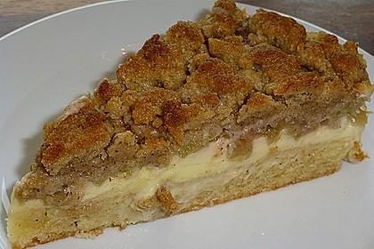 Rhabarberkuchen mit Vanillecreme und Streusel 29