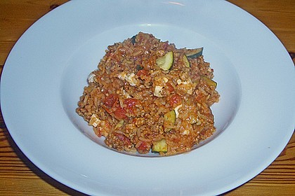 Zucchini-Reis Topf mit Hackfleisch und Feta 2