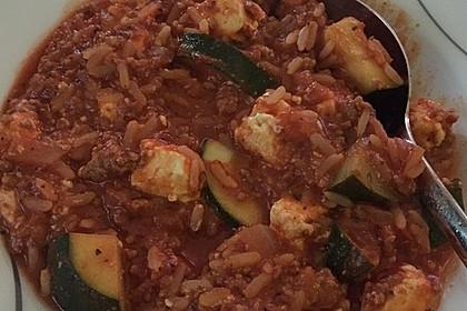 Zucchini-Reis Topf mit Hackfleisch und Feta 3