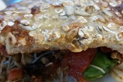 Vegetarischer Pfannkuchen mit Spinat-Champignon-Füllung 3