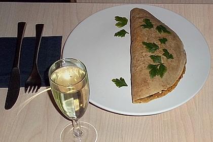Vegetarischer Pfannkuchen mit Spinat-Champignon-Füllung 4