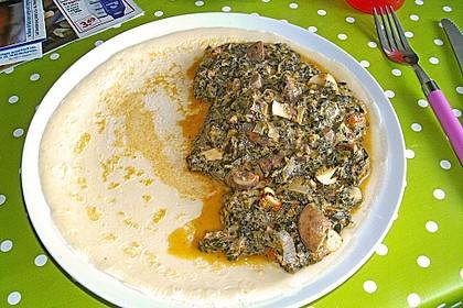 Vegetarischer Pfannkuchen mit Spinat-Champignon-Füllung 6