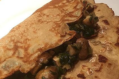 Vegetarischer Pfannkuchen mit Spinat-Champignon-Füllung 2