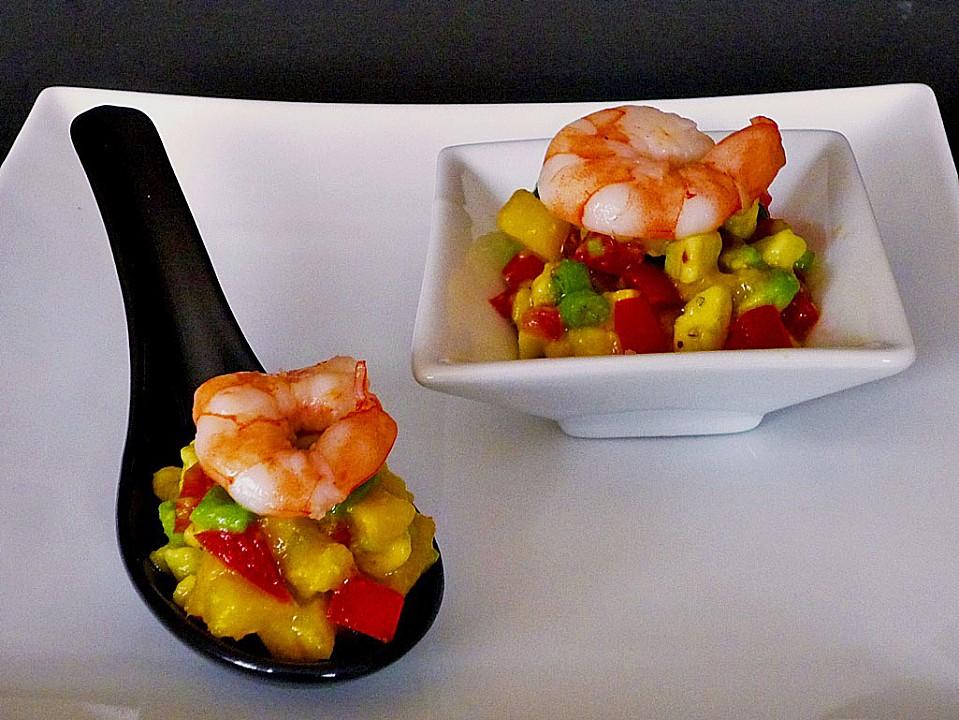Avocado-Mango Salsa mit Garnelen (Rezept mit Bild ...