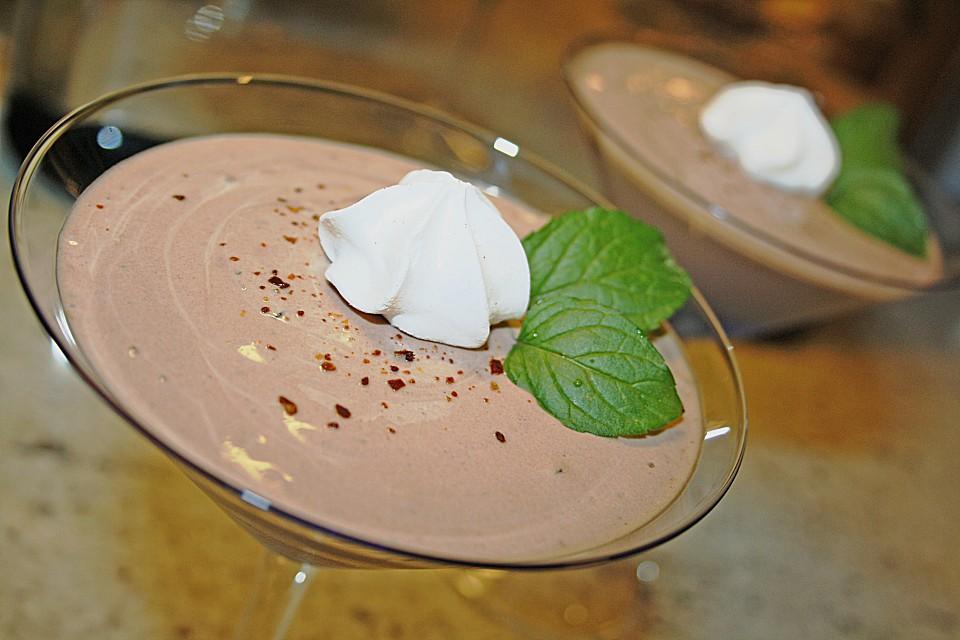 minz schokoladen dessert mit chili rezept mit bild. Black Bedroom Furniture Sets. Home Design Ideas