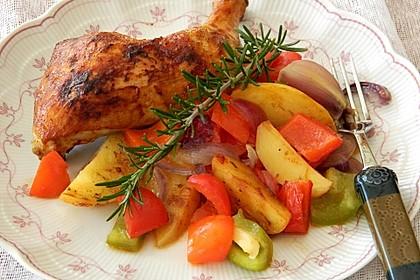 Hähnchenschenkel auf BBQ Kartoffel-Gemüsebett