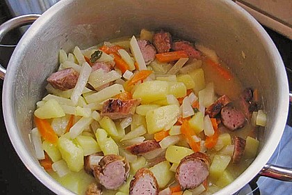 Kohlrabi-Karotten Topf mit Bratwurst 19