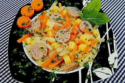 Kohlrabi-Karotten Topf mit Bratwurst 2