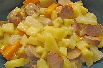 Kohlrabi-Karotten Topf mit Bratwurst 14