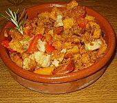 Migas Brotwürfel mit Schweinebauch und Chorizo (Bild)