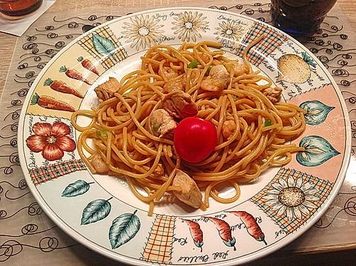 spaghetti mit h hnchenbrust und shrimps rezept mit bild. Black Bedroom Furniture Sets. Home Design Ideas