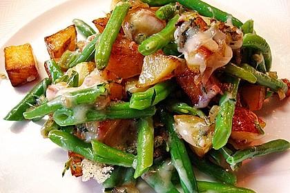 Würzige Kartoffel-grüne Bohnen Pfanne 0
