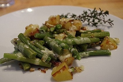 Würzige Kartoffel-grüne Bohnen Pfanne 1