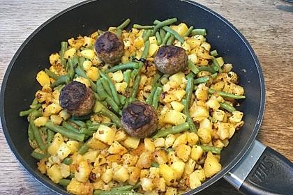 Würzige Kartoffel-grüne Bohnen Pfanne 51