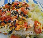 Überbackenes Fischfilet mit Schafskäse (Bild)