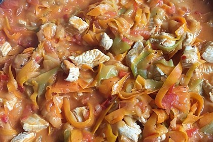 Zucchini-Karotten-Bandnudeln mit Hähnchen und Tomate 32