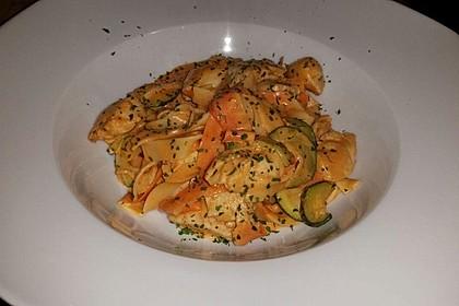 Zucchini-Karotten-Bandnudeln mit Hähnchen und Tomate 21