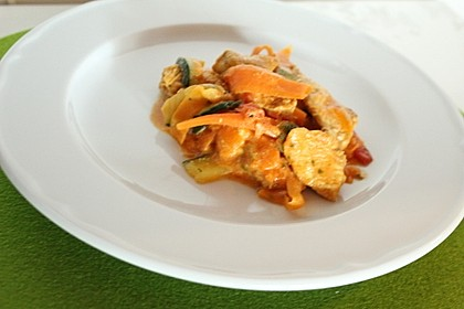 Zucchini-Karotten-Bandnudeln mit Hähnchen und Tomate 48