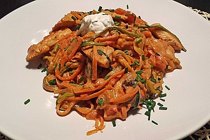 Zucchini-Karotten-Bandnudeln mit Hähnchen und Tomate 8