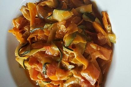 Zucchini-Karotten-Bandnudeln mit Hähnchen und Tomate 11