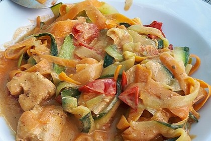Zucchini-Karotten-Bandnudeln mit Hähnchen und Tomate 9