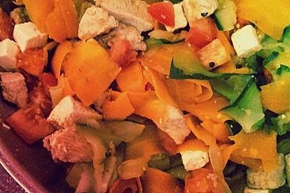 Zucchini-Karotten-Bandnudeln mit Hähnchen und Tomate 55