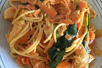 Zucchini-Karotten-Bandnudeln mit Hähnchen und Tomate 18