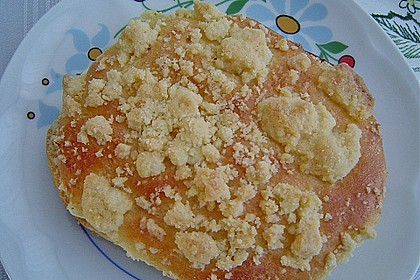 Hefe-Streuselteilchen mit Pudding  und Sahne 6