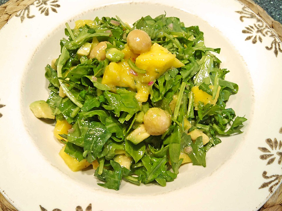 rucola mango salat mit avocado rezept mit bild von sp1904. Black Bedroom Furniture Sets. Home Design Ideas