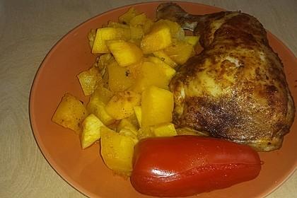 Kürbis, Kartoffeln und Hähnchenschenkel aus dem Backofen 79