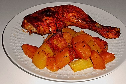 Kürbis, Kartoffeln und Hähnchenschenkel aus dem Backofen 8