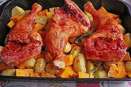 Kürbis, Kartoffeln und Hähnchenschenkel aus dem Backofen 35