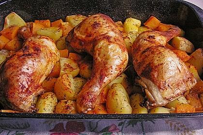 Kürbis, Kartoffeln und Hähnchenschenkel aus dem Backofen 5
