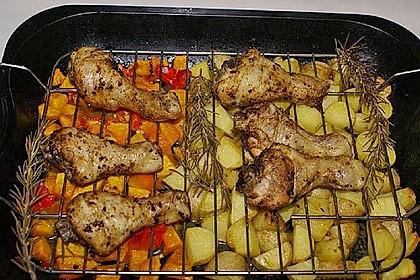 Kürbis, Kartoffeln und Hähnchenschenkel aus dem Backofen 18