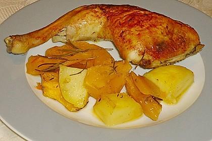 Kürbis, Kartoffeln und Hähnchenschenkel aus dem Backofen 16